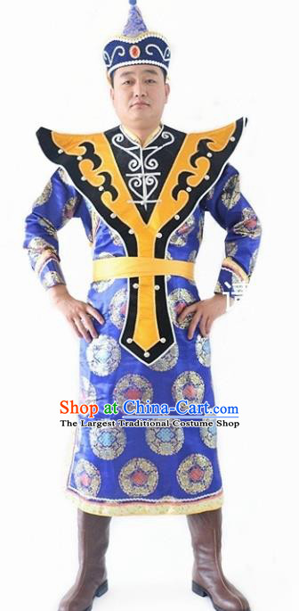 Chinese Traditional Mongol Nationality Royalblue Costumes Mongolian Ethnic Dance Robe for Men