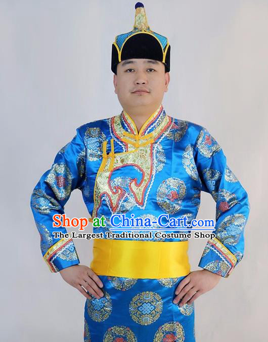 Chinese Traditional Mongol Nationality Blue Costumes Mongolian Ethnic Dance Robe for Men
