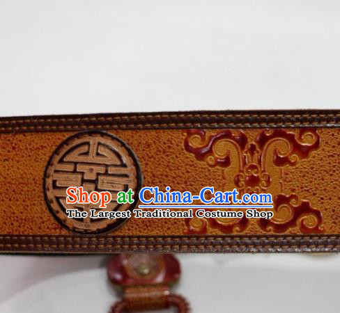 Traditional Chinese Mongol Nationality Male Yellow Leather Belts Mongolian Ethnic Waistband for Men