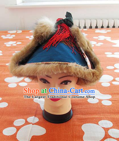 Traditional Chinese Mongol Nationality Winter Headwear Mongolian Ethnic Marten Blue Hat for Men