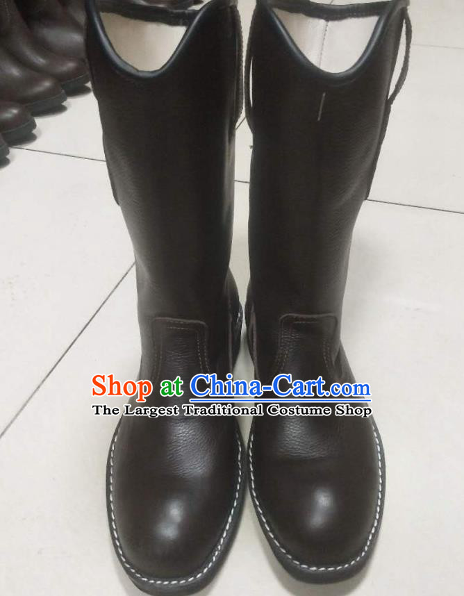 Chinese Traditional Mongol Nationality Boots Mongolian Ethnic Leather Riding Boots for Men