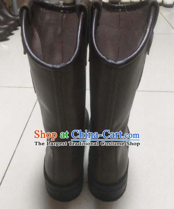 Chinese Traditional Mongol Nationality Wedding Boots Mongolian Ethnic Leather Riding Boots for Men