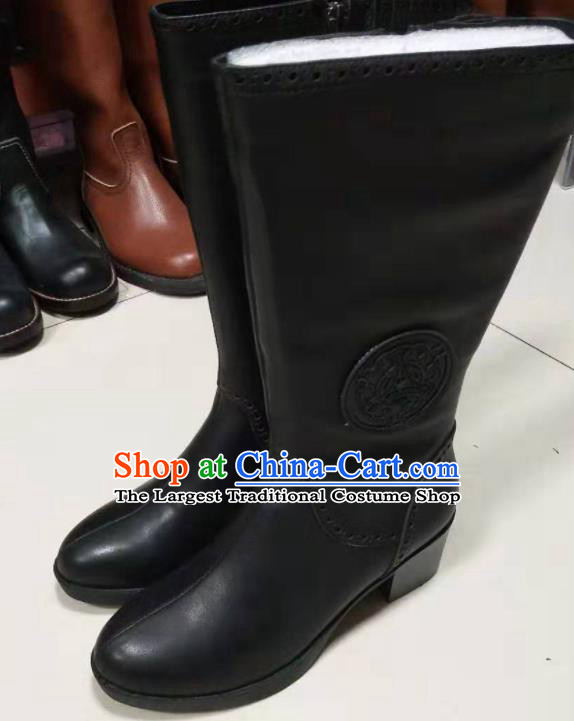 Chinese Traditional Mongol Nationality Black Leather Boots Mongolian Ethnic Riding Boots for Women
