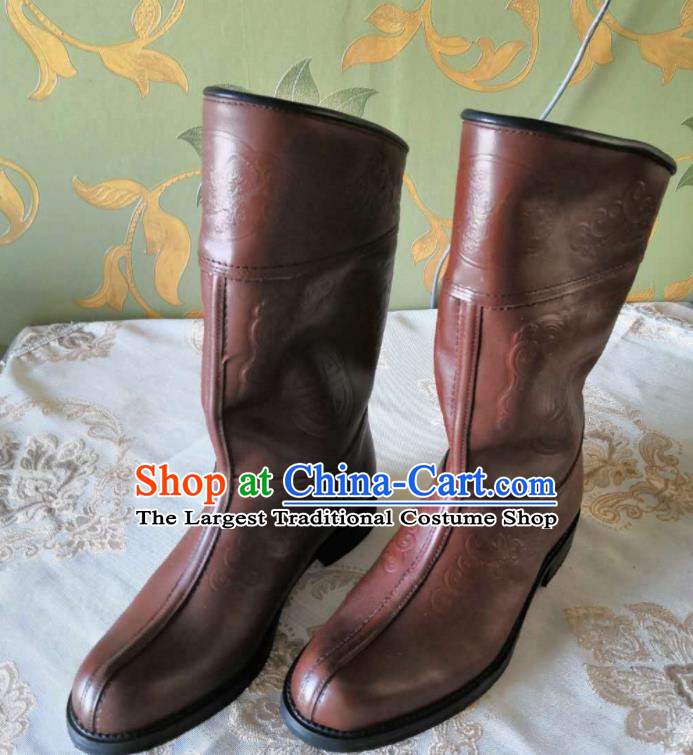 Chinese Traditional Mongol Nationality Orange Boots Mongolian Ethnic Stage Show Leather Riding Boots for Men