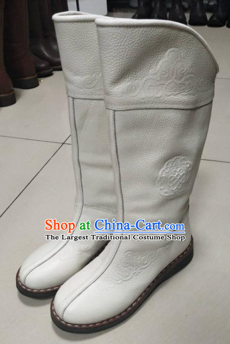 Chinese Traditional Mongol Nationality White Riding Boots Mongolian Ethnic Shoes Winter Leather Boots for Women