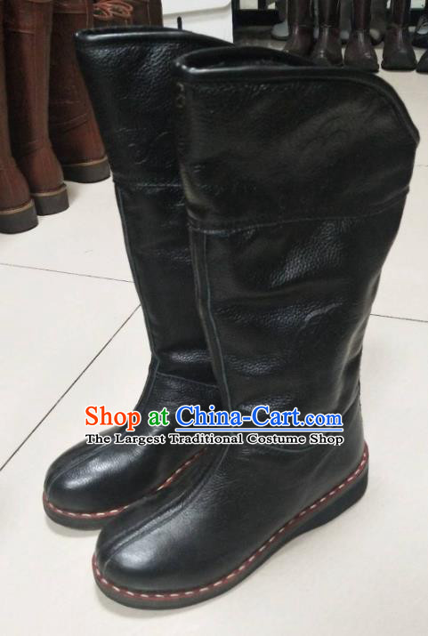 Chinese Traditional Mongol Nationality Black Riding Boots Mongolian Ethnic Shoes Winter Leather Boots for Women