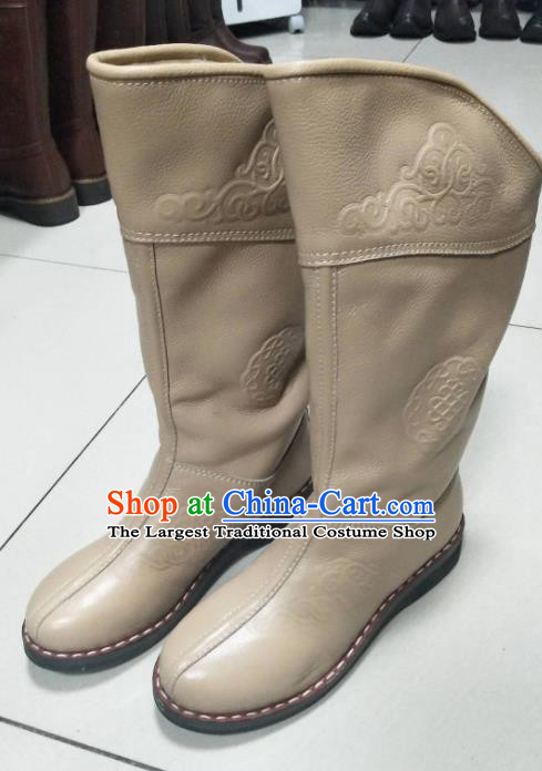 Chinese Traditional Mongol Nationality Khaki Riding Boots Mongolian Ethnic Shoes Winter Leather Boots for Women