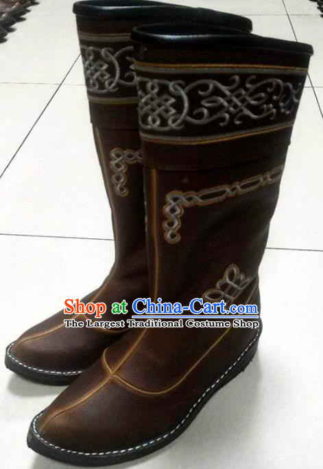 Chinese Traditional Mongol Nationality Brown Riding Boots Mongolian Ethnic Shoes Leather Boots for Women