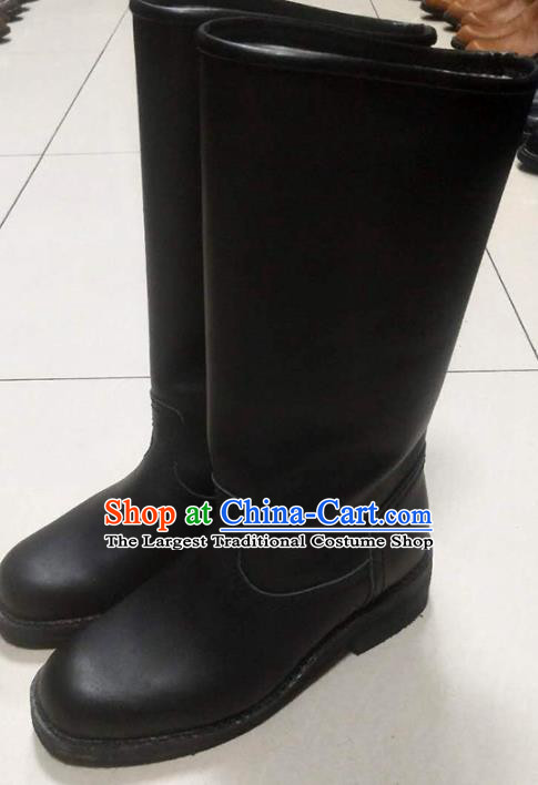 Chinese Traditional Mongol Nationality Black Boots Mongolian Ethnic Leather Riding Boots for Men