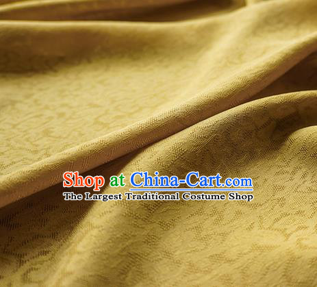 Traditional Chinese Classical Apricot Flowers Pattern Design Yellow Silk Fabric Ancient Hanfu Dress Silk Cloth