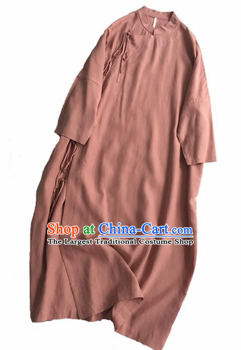 Chinese Traditional Tang Suit Skin Pink Cheongsam National Costume Qipao Dress for Women