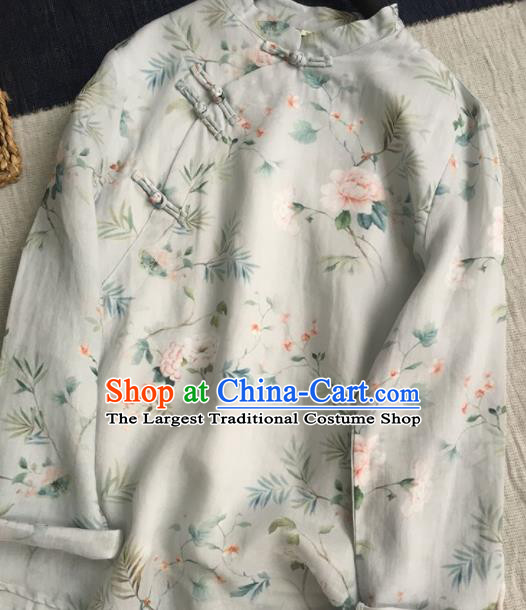 Chinese Traditional Tang Suit Printing Peony White Ramie Blouse National Upper Outer Garment Costume for Women