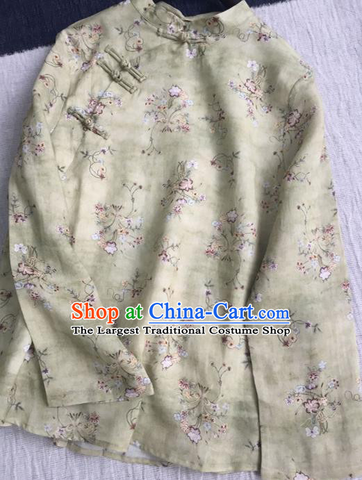 Chinese Traditional Tang Suit Printing Light Green Ramie Blouse National Upper Outer Garment Costume for Women