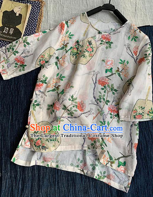 Chinese Traditional Tang Suit Printing Fan White Ramie Blouse National Upper Outer Garment Costume for Women