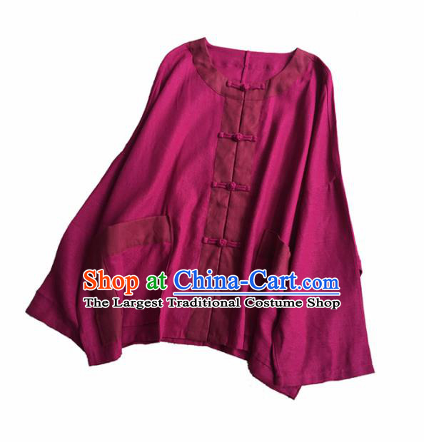Chinese Traditional Tang Suit Wine Red Flax Blouse National Upper Outer Garment Costume for Women