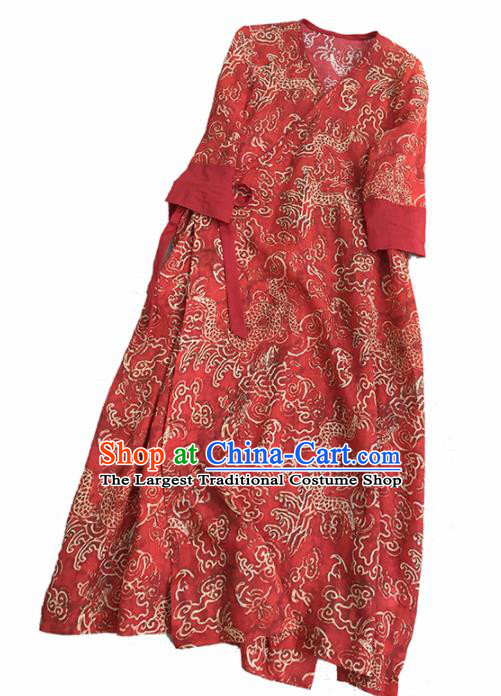 Chinese Traditional Tang Suit Printing Dragon Red Ramie Cheongsam National Costume Qipao Dress for Women