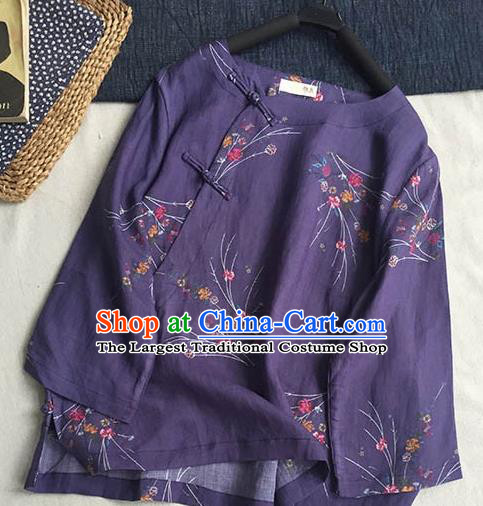 Chinese Traditional Tang Suit Printing Purple Ramie Blouse National Upper Outer Garment Costume for Women