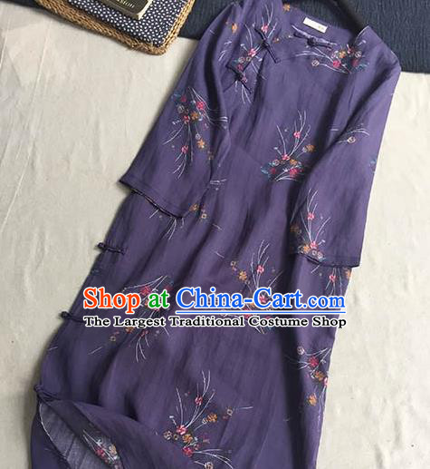 Chinese Traditional Tang Suit Printing Purple Ramie Cheongsam National Costume Qipao Dress for Women