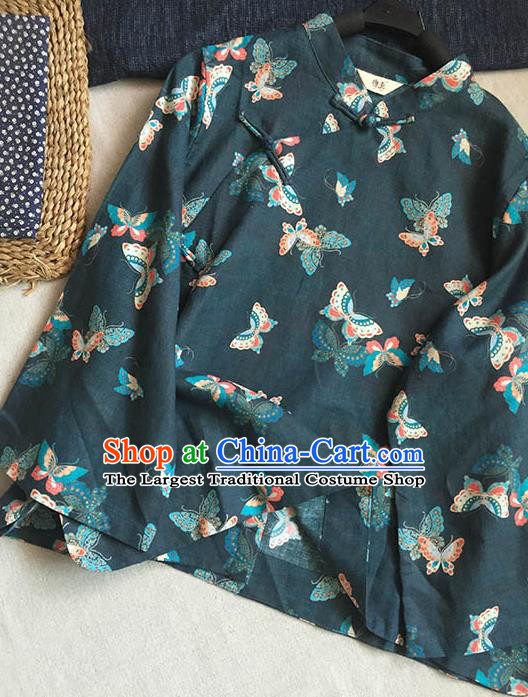 Chinese Traditional Tang Suit Printing Butterfly Atrovirens Ramie Blouse National Upper Outer Garment Costume for Women