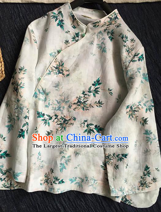 Chinese Traditional Tang Suit Printing Leaf White Ramie Blouse National Upper Outer Garment Costume for Women