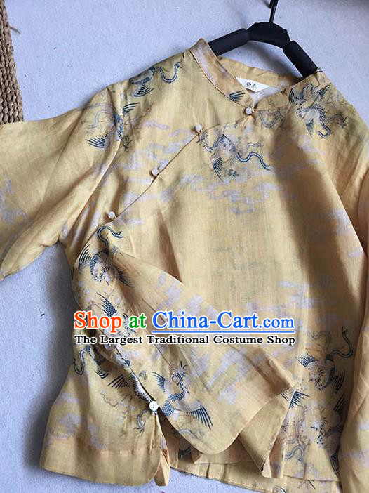 Chinese Traditional Tang Suit Printing Phoenix Yellow Ramie Blouse National Upper Outer Garment Costume for Women