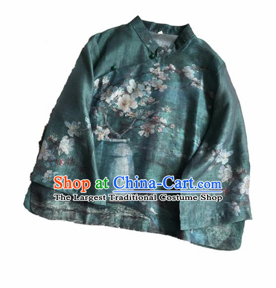 Chinese Traditional Tang Suit Printing Plum Atrovirens Ramie Blouse National Upper Outer Garment Costume for Women
