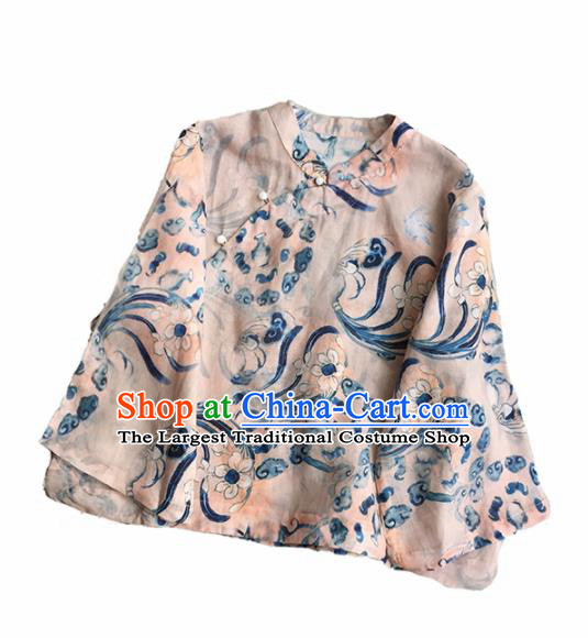 Chinese Traditional Tang Suit Printing Light Pink Ramie Blouse National Upper Outer Garment Costume for Women