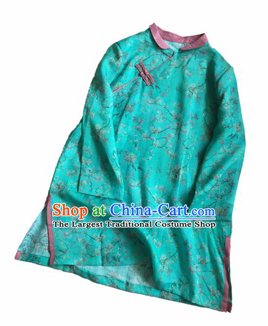Chinese Traditional Tang Suit Printing Peony Green Ramie Blouse National Upper Outer Garment Costume for Women
