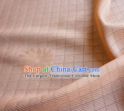 Traditional Chinese Classical Lotus Pattern Design Champagne Silk Fabric Ancient Hanfu Dress Silk Cloth