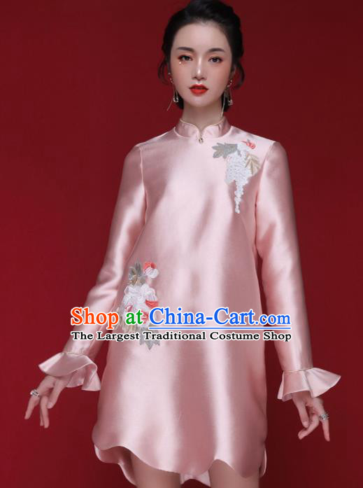 Chinese Traditional Tang Suit Embroidered Pink Cheongsam National Costume Qipao Dress for Women