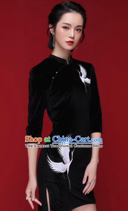Chinese Traditional Tang Suit Embroidered Crane Black Pleuche Cheongsam National Costume Qipao Dress for Women