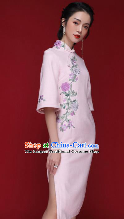 Chinese Traditional Tang Suit Embroidered Chrysanthemum Pink Wool Cheongsam National Costume Qipao Dress for Women