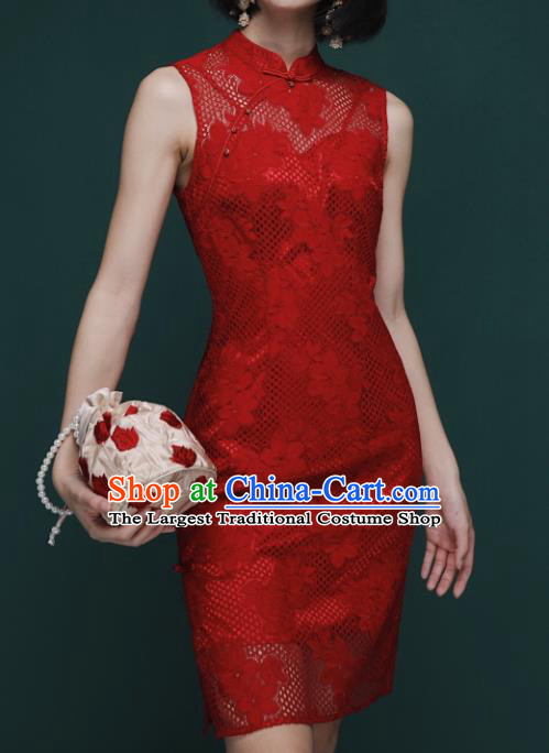 Chinese Traditional Tang Suit Red Lace Cheongsam National Costume Qipao Dress for Women