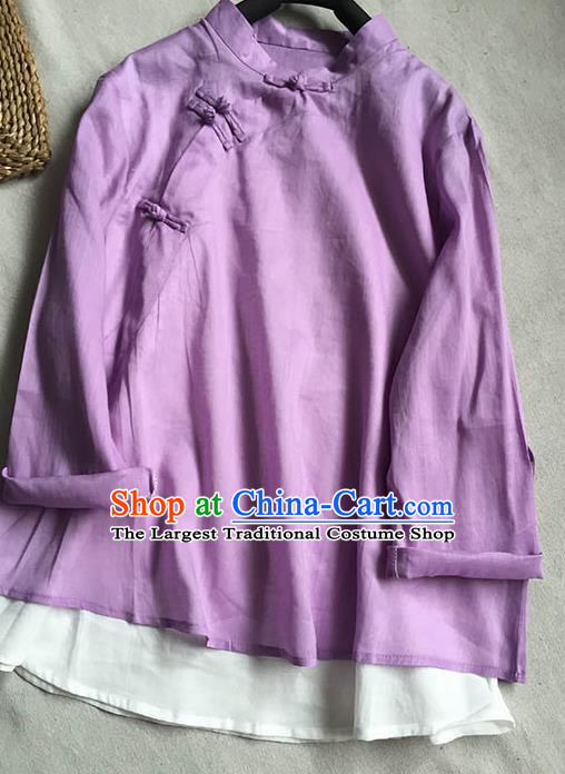Chinese Traditional Tang Suit Purple Ramie Blouse National Upper Outer Garment Costume for Women