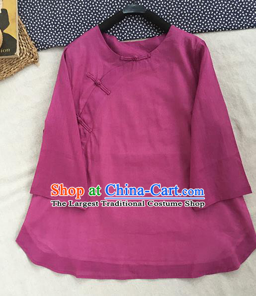 Chinese Traditional Tang Suit Light Purple Ramie Blouse National Upper Outer Garment Costume for Women
