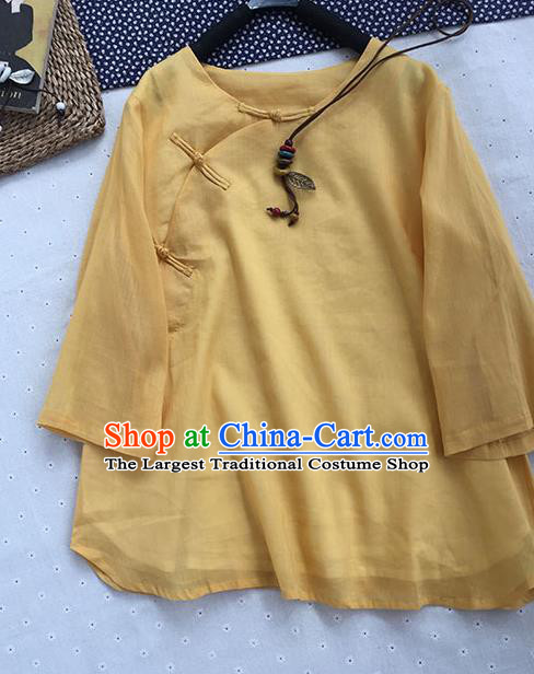 Chinese Traditional Tang Suit Yellow Ramie Blouse National Upper Outer Garment Costume for Women