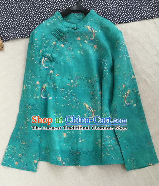 Chinese Traditional Tang Suit Green Ramie Blouse National Upper Outer Garment Costume for Women