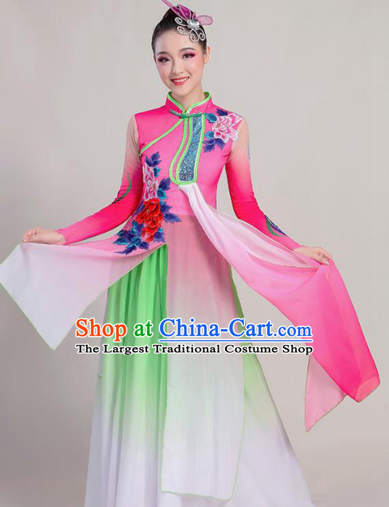 Chinese Traditional Umbrella Dance Stage Show Pink Dress Classical Dance Fan Dance Costume for Women