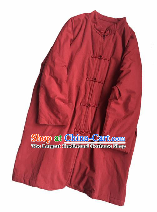 Chinese Traditional Tang Suit Red Cotton Wadded Jacket National Upper Outer Garment Costume for Women