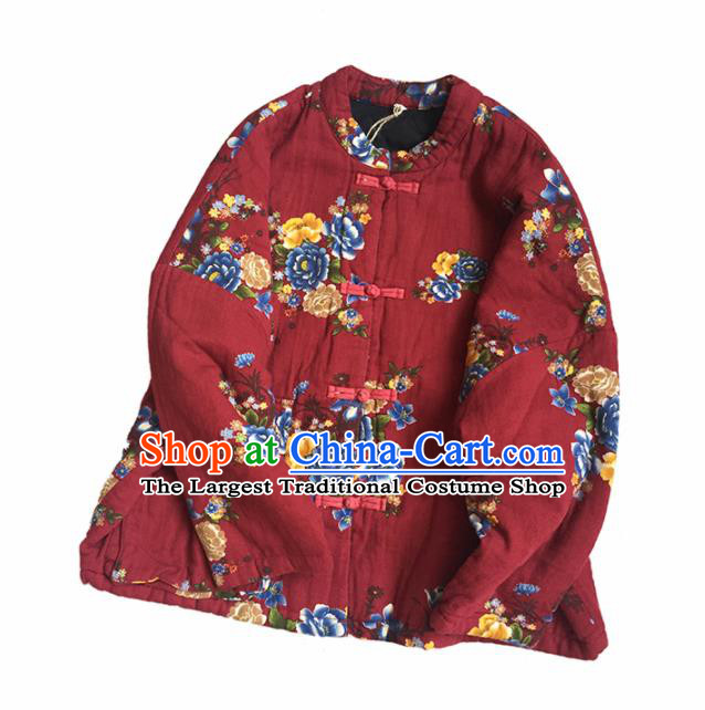 Chinese Traditional Tang Suit Printing Peony Purplish Red Cotton Wadded Jacket National Upper Outer Garment Costume for Women
