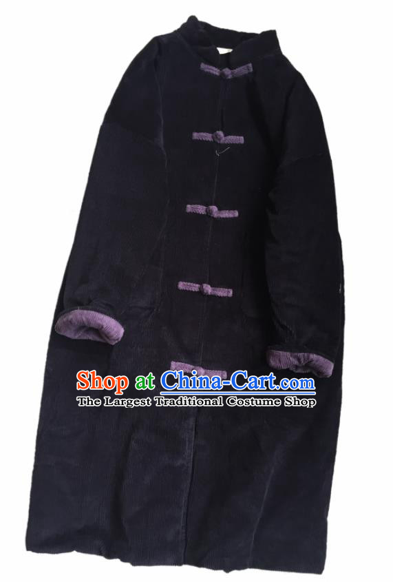 Chinese Traditional Tang Suit Navy Corduroy Cotton Wadded Coat National Outer Garment Costume for Women