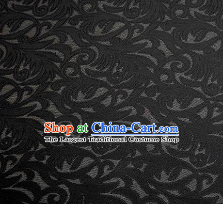 Traditional Chinese Classical Phoenix Flower Pattern Design Black Silk Fabric Ancient Hanfu Dress Silk Cloth