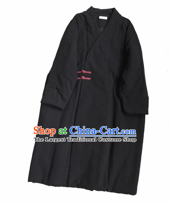 Chinese Traditional Tang Suit Black Cotton Wadded Coat National Outer Garment Costume for Women