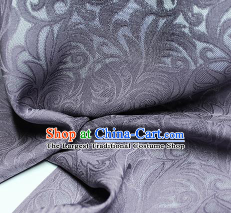 Traditional Chinese Classical Phoenix Flower Pattern Design Purple Silk Fabric Ancient Hanfu Dress Silk Cloth