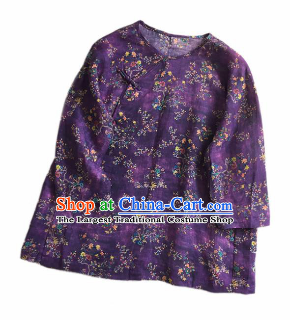 Chinese Traditional Tang Suit Printing Flowers Purple Ramie Blouse National Upper Outer Garment Costume for Women