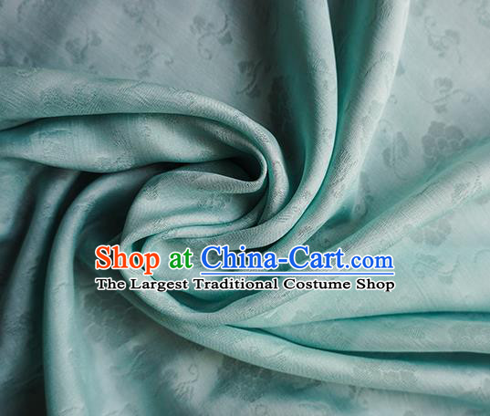 Traditional Chinese Classical Flower Pattern Design Green Silk Fabric Ancient Hanfu Dress Silk Cloth