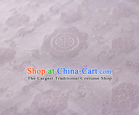 Traditional Chinese Classical Flower Pattern Design Light Purple Silk Fabric Ancient Hanfu Dress Silk Cloth