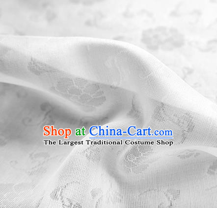 Traditional Chinese Classical Flower Pattern Design White Silk Fabric Ancient Hanfu Dress Silk Cloth