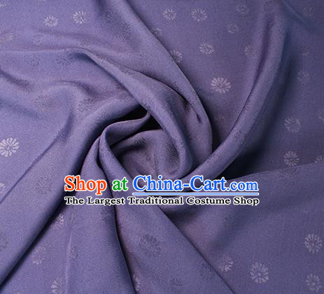 Traditional Chinese Classical Daisy Pattern Design Purple Silk Fabric Ancient Hanfu Dress Silk Cloth