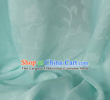 Traditional Chinese Classical Hibiscus Peony Pattern Design Light Green Silk Fabric Ancient Hanfu Dress Silk Cloth